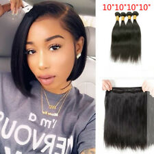 Straight human hair bundles Natural color Brazilian Virgin hair 4pcs 10inch Weft