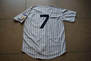 New! Mickey Mantle New York Yankees WHITE Pinstripe Baseball Jersey Men's XL