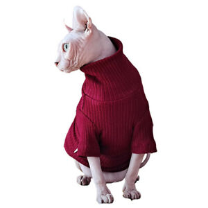 Hairless Cats Winter Warm Turtleneck Sphinx Wear Pullover Knitwear with Sleeves