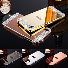 2 in 1 Metal Bumper + Bling Crystal PC Mirror Back Case Cover For HTC Phones