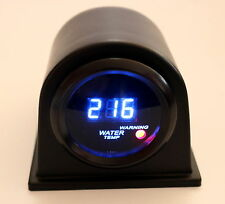 "2"" Digital Water Temp Meter Blue LED Black Smk Lens 104 - 280 F w/ Flat Blk pod"