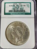 1923 PEACE SILVER DOLLAR - BINION COLLECTION - NGC CERTIFIED MS 65