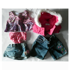 Build A Bear Clothing Girls Lot Clothes 2 Outfits Jeans Parka White Fur Pink EUC