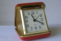 Vintage Germany Europa 2 Jewels Alarm Travel Clock Red Excellent Working Order