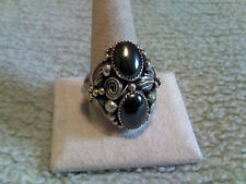 2 Stone Hematite Heavy Sterling Silver Ring Handcrafted