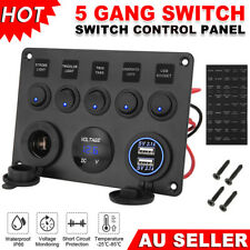 5 Gang 12V Switch Panel ON-OFF Rocker Toggle Waterproof for Boat Marine RV Truck