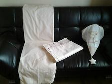 Happy Bear Cream Stripped Tab Top Curtains & Celing Light With Holder W66X54L
