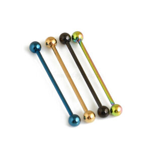 """14G 1-1/2""""(38mm) TITANIUM Anodized Steel Long Bar Industrial Barbells With Ball"""