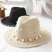 Women Hat Panama Straw Hats Flower Beads Wide Brim Cap Summer Jazz Visors Caps