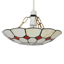 Modern Stained Glass Ceiling Pendant Light Shade Cream & Red Home Lighting NEW