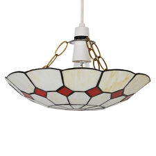 Modern Stained Glass Ceiling Pendant Light Shade Cream  Red Home Lighting NEW