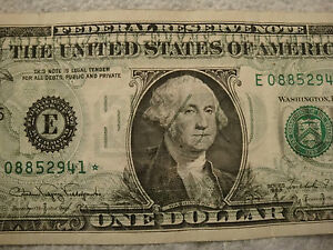 US $1 ERROR BILL FULL BACK TO FRONT STAR NOTE TRANSFER UNIQUE COMBO CIRCULATED