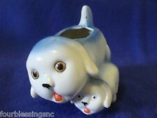 MID-CENTURY BONE CHINA PLANTER-DOG WITH PUPPY-MADE IN JAPAN-HAND PAINTED-SIGNED