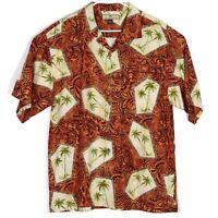 NWOT Tommy Bahama Mens Hawaiian Camp Shirt Size L Orange Palm Tribal Silk Aloha