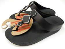 FitFlop Womens Lea Leather Toe Thongs All Black 7