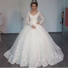 2017  Lace Long Sleeve Ball Gown  Wedding Dress Bridal Gown Custom Size 4-18+