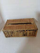 "Vintage Bamboo Wicker Rectangular Tissue Box Cover 9"" X 6"" X 3"" Hong Kong"
