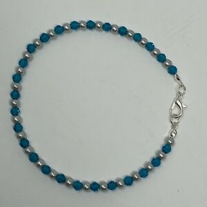 """Handmade Anklet Gray Glass Pearls and Teal Faceted Glass Beads Silver Tone 9"""""""