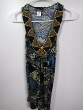 WET SEAL LADIES/JUNIORS SIZE S BLOUSE TOP BLUE FLORAL BEADED BLING SLEEVELESS