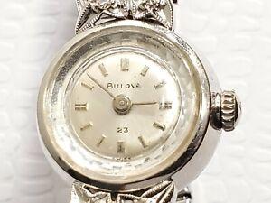 Vintage Bulova Diamond Bezel 10K White Gold Filled Wind Up Watch 23 Jewels Women
