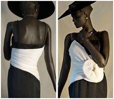 1940s Style Evening Dress B&W Origami Micropleats Drama Sz 8-10 #1194