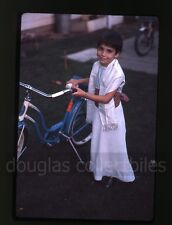 1961 Ektachrome Photo slide Happy Girl standing next to a Schwinn Bike Bicycle