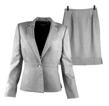 Kasper Women Skirt Suit Size 6 2 Pc Gray Flounce Peplum Birdseye Pleat Business