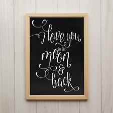 Love You To The Moon Kunstdruck Poster A4 Liebe Spruch Kreidetafel Geschenk Bild