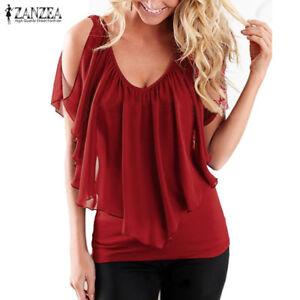 Plus Size ZANZEA Women Off Shoulder Ruffled T Shirt Tank Tops Stretch Blouse Tee