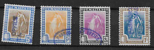Malta stamps used fiscally x4