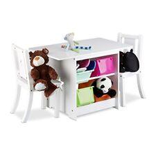 Relaxdays Albus Set Mobili per Bambini con sedie legno Bianco 46x75x56 (l5i)