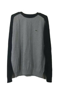 Izod Lacoste Mens Pullover Sweater Gray Black Color Block Long Sleeve Cotton M
