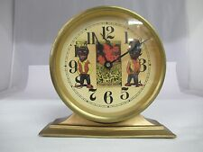 VINTAGE BLACK AMERICANA AMOS AND ANDY BRASS ALARM CLOCK, 547-L