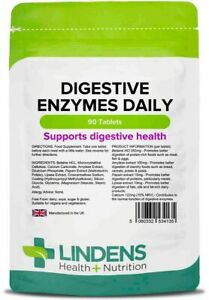 **Lindens Digestive ENZYMES Daily Tablets (90) HELPS DIGESTION