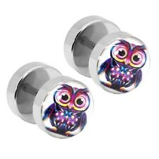 2 Earrings Fakeplug Fake Tunnel Piercing to Screw Owl