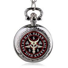 Pocket Watch Mini Hail Satan 666 Baphomet Lucifer Gothic Devil + Necklace 31