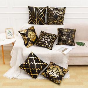 45*45cm Gold Foil Printed Cushion Cover Geometric Throw Pillow Case Home Decor