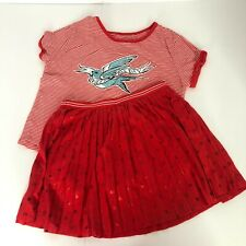 Justice Girls Red Outfit Size 8 Skort Summer Bird Polka Dot