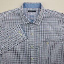 Van Heusen Studio Men's Large Slim Fit Blue Purple Plaid Long Sleeve