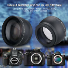52mm High Definition 2x HD Wide Angle Telephoto Macro Lens for Canon Nikon Sony