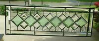 Beautiful Clear & Green Diamond Beveled Stained glass Transom!