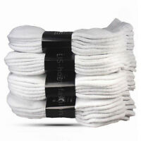 New 3 6 12 Pairs Mens Womens Ankle Quarter Crew Socks Cotton Sports All White