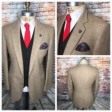 Beige Herringbone Tweed Patch Pocket Sport Coat Jacket Mens Size 42 Long Haggar