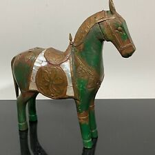 VTG Carved Wood & Brass Middle East Shell Equestrian Horse Art Statue Sculpture