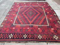 Kilim Vintage Traditional Hand Made Oriental Red Wool Large Kilim 280x240cm