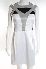 Karen Millen White Gray Black Color Block Satin Sleeveless Sheath Dress Size 10