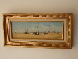Tableau marine, bâteaux, plage, signé Chevtsov