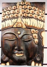 FAIRTRADE BROWN RUSTIC WOODEN THAI  BUDDHA PLAQUE 35CM X 25cm  NEW FREE POSTAGE