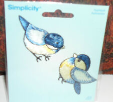 2 BLUE BIRDS Embroidered iron-on Patch New