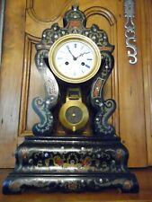 Pendule  Napoléon III avec décor marqueterie style  Boulle .H : 48 cm .